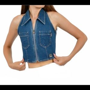 VERSACE JEANS COUTURE cropped full zip denim vest